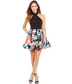 B Darlin Floral Skirt Halter Neckline FitandFlare Dress #Dillards