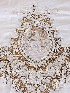 Magnificent Huge Belgium Zele Needle Lace Figural Antique Tablecloth