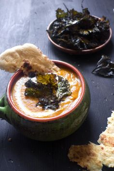 Curried Butternut Squash, Potato, & Carrot Soup with Spicy Kale Chips