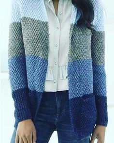 Free Knitting Pattern for Easy High Plains Cardigan patterns free sweater easy Easy Cardigan Knitting Patterns Knit Cardigan Pattern, Vest Pattern, Sweater Cardigan, Oversized Cardigan Outfit, Knitting Patterns Boys, Knitting Designs, Diy Laine, Casual Sweaters, Knit Sweaters
