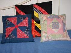 Don't throw away those quilt squares. If you made too many squares while making a quilt keep them and make a pillow to match the quilt or just to use on your bed or chair for decoration.  Approximate Time: 1/2 hour