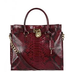 MICHAEL Michael Kors Red Leather Snakeskin Print Hamilton Tote Bag ($550) via Polyvore