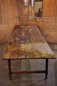 """Amazing """"farm"""" table - I could see many a dinner party being served on this table."""