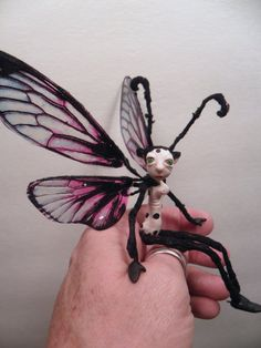 one of a kind butterfly fairy polymer clay pose-able by Dinkydarlings