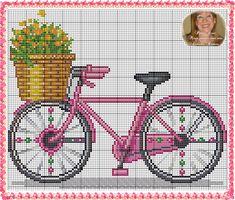 Bike with Basket Cross Stitch Fruit, Cross Stitch Needles, Cross Stitch Cards, Cross Stitch Baby, Cross Stitch Flowers, Cross Stitching, Cross Stitch Embroidery, Cross Stitch Designs, Cross Stitch Patterns