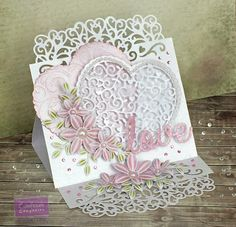 For my card this week for Crafter's Companion I thought I'd makeanother Mother's Day card ........... lol well it started out that way!!!But I thought it would look great as a wedding card so it kind