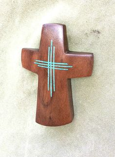 """Walnut Wall Cross with Turquoise Inlay 6"""" high x 4"""" wide by BlackFacedSheep on Etsy"""