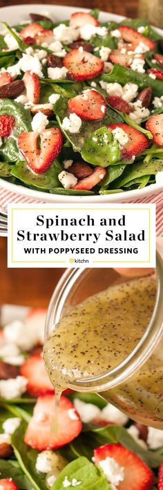 Spinach and strawberry salad with poppyseed dressing. This is a PERFECT recipe for spring or a holiday like easter! Great for a brunch, lunch, or dinner -- a light and healthy side if you're looking for side dishes that are full of vegetables. Salads like this are real crowd pleasers. Made with a homemade vinaigrette or dressing to top!