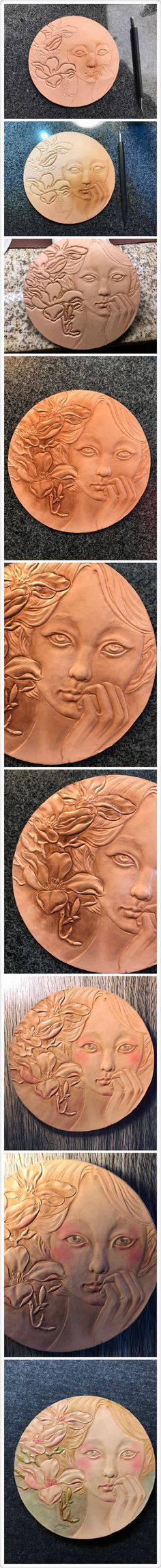 The procedure of spring girl leather carving #Leather #carving