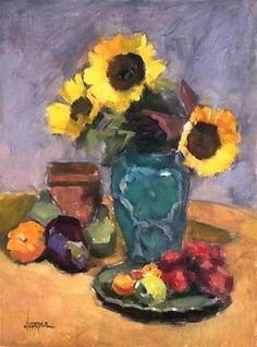 DPW Fine Art Friendly Auctions - Sunflowers in Green by Dana Cooper