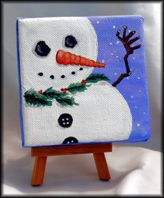 Mini Original Canvas painting by: Lady TPowers Acrylic on . Small Canvas Paintings, Mini Canvas Art, Mini Paintings, Diy Canvas, Canvas Ideas, Painting Canvas, Large Painting, Winter Painting, Painting For Kids