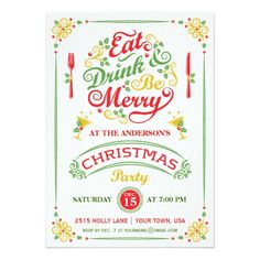 Eat, Drink, and Be Merry Christmas Party III Card