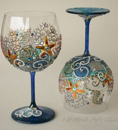 One of a kind hand painted and decorated Crystal balloon wine glasses, burgundy wine glasses, suitable for candle holders too. Beach theme design -waves, seahorses, shells, starfishes. Attractive d…