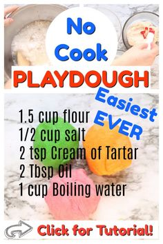 Best no cook playdough recipe! Just add boiling water! Takes 5 minutes to make and keeps for 6 months. Playdough is great for sensory play, strengthening fine motor skills, and for independent play in toddlers and preschoolers! - Education and lifestyle Fun Crafts For Kids, Toddler Crafts, Preschool Crafts, Projects For Kids, Arts And Crafts, Diy Crafts, Best Crafts, Diy Projects, Quick Crafts