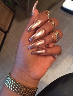 Shimmery Coffin Nails