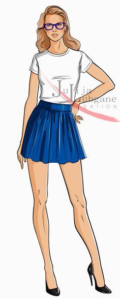 Design Fashion Illustrations consist of 3 step process: 1. - pencil sketch 2. - Line work in Adobe Illustrator 3. - Rendering in Adobe Photosop