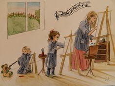 Atelier familial, douce ambiance de créativité.