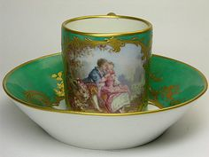 """Sevres style Watteau Cup and Saucer Watteau. """"Repinned by Keva xo""""."""