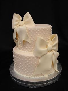 """""""Dotted Swiss"""" Wedding Cake ~ Buttercream with gumpaste bows"""