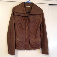 Vince leather jacket Supple brown leather jacket in great shape. Soft and buttery, great with any outfit. Size medium, several pockets, zip up with large collar. Vince Jackets & Coats