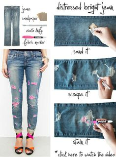 DIY Distressed Jeans crafts craft ideas easy crafts diy ideas diy crafts easy diy fun diy craft clothes craft fashion fashion diy diy pants diy jeans craft jeans teen crafts crafts for teens Neon Jeans, Diy Ripped Jeans, Diy Jeans, Denim Pants, Skinny Jeans, Do It Yourself Mode, Do It Yourself Fashion, Diy Clothes Videos, Old Clothes
