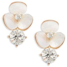 Kate Spade New York Pavé Crystal Disco Pansy Drop Stud Earrings found on Polyvore featuring jewelry, earrings, white, post back earrings, pave earrings, disco earrings, crystal flower earrings and crystal jewelry