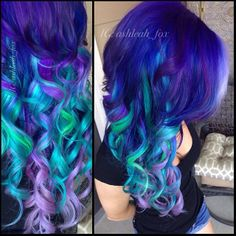 White, Violets, Turquoise, Green, Blue, Emerald Hair.