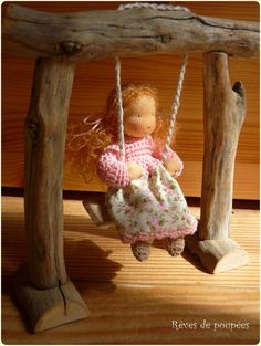 Such a sweet doll & swing!  by Revesdepoupees, on Etsy €52.00