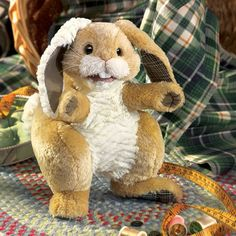 Folkmanis Rabbit, Patchwork Hand Puppet - 2948