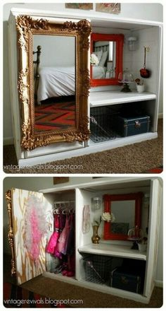 Upcycle an old entertainment center into dress up center