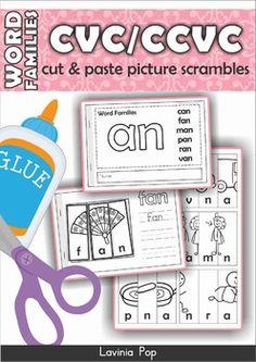 Word Families - CVC & CCVC Cut & Paste Picture Scrambles F