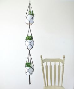 Three Tiered Macrame Plant Hanger Simple Hanging Holder For Plants