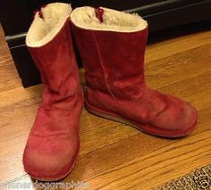UGG Australia Girls Sz 3 US 2 UK Red Boots Leather Sheepskin Snow Winter Boot | eBay