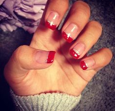 Holiday nails. Acrylic nails. French, red glitter tips, with a silver sparkly lining. French manicure for the holidays. Pinterest -> sellenabrielle