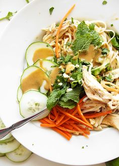 [Cold Sesame Peanut Noodles with Brown Butter Chicken] + Click For Recipe!  #easy #recipes #quick