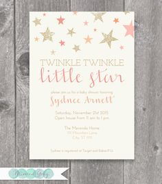 printable twinkle twinkle little star baby shower invitation
