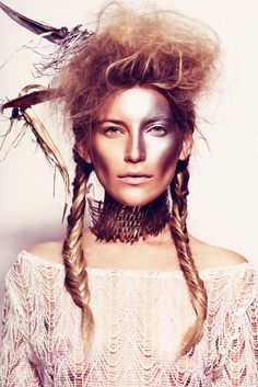 Silvery-Gold Makeup Editorials