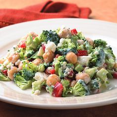 Recipe of the Day: Creamy Broccoli Feta Salad (+ 2 Ways to Use the Leftovers!) #10saladchallenge #salad #healthy #recipe #saladrecipe #saladdressing #broccoli #chickpeas