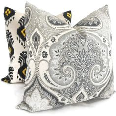 Kravet Black and Gray Ikat Decorative Pillow Cover by PopOColor, $50.00