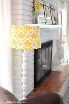 I love the idea of making over lamps and what a great shade cover.  Plus, I am digging the white brick in the background.