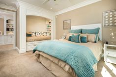 Fresh Turquoise Bedroom Ideas for Beautify Your Room: Turquoise Bedroom Ideas With Blue Bedding And White Headboard Plus Bed Alcove And Under Bed Storage Also White Bedside Table Plus Framed Artwork And Beige Carpet ~ franklester.com Bedroom Inspiration