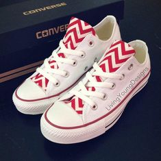 Red Chevron Converse Low Top Sneakers White Custom Chuck Taylors from Living Young Designs. Saved to Hipsta Please!. #sneakers #converse #gift #chevronshoes #oowee #stepyoshoegameup #christmas #shoes.