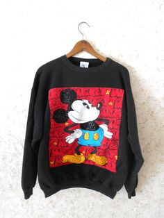 Vtg 80s Rare Mickey Mouse Sequin Bling Oversize by CoolDogVintage