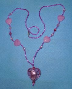 Uber-Girly-Girl Pink Foil Heart Princess Necklace