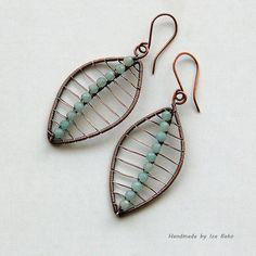 Amazonite Earrings in Antiqued Copper | by izabako