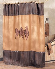 Western Shower Curtains: Running Horse Shower Curtain|Lone Star Western Decor