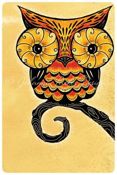 https://flic.kr/p/dLuQDW | Perching-Owl | Whimsical owl illustration by artist Johanna Parker