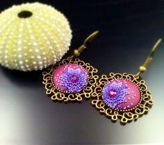 Unique dangle earrings handmade from purple maroon by SheSeesSense