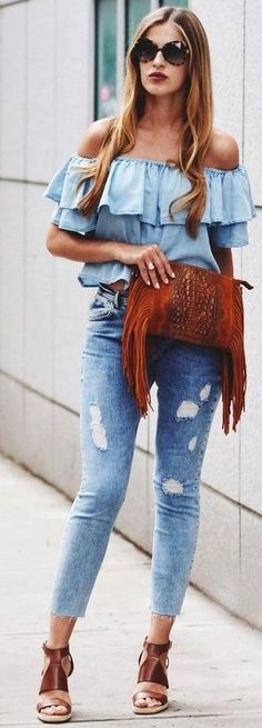 I love the top, but I would rather wear black boot-cut jeans, black rounded-toe heels, Ray-ban sunglasses & I would have a small black purse instead