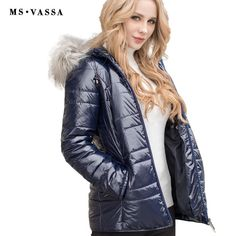 933f125c9c2ff MS VASSA Lades jacket 2017 New Fashion Parkas Autumn Winter Coats fake fur  removable hood stand up collar plus size outerwear